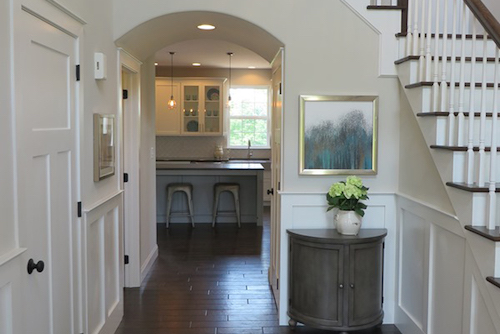 Custom entryway in Locust Valley pennsylvania with white walls and staircase