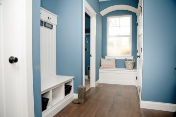 Interior shot of a mudroom designed by Rotell(e) Studio(e)
